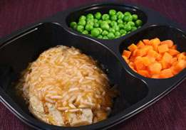 Pork Patty & Zesty Orange Rice with Green Peas & Carrots - Individual Meal