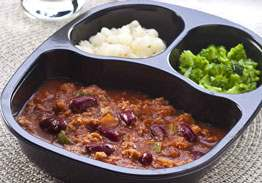 Chili with Beans with Carrots & Broccoli Florets - Individual Meal