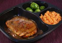 Honey Mustard Chicken Patty, Carrots and Brussels Sprouts - Individual Meal