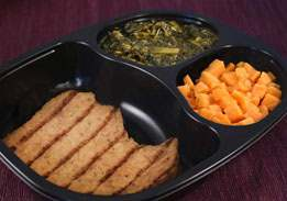 Grilled Pork Patty with Brown Gravy, Mixed Greens and Sweet Potatoes - Individual Meal