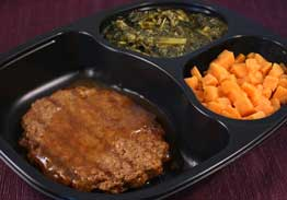Beef & Pepper Patty with Gravy with Spinach and Sweet Potatoes - Individual Meal
