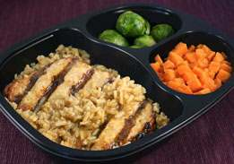 Teriyaki- Glazed Chicken Breast Patty with Brown Rice, Sweet Potatoes and Brussels Sprouts - Individual Meal