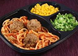 Spaghetti & Meatballs with Whole Kernel Corn & Broccoli Florets - Individual Meal