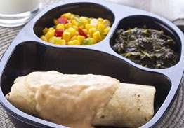 Chicken & Bean Red Burrito with Cheese Sauce, Spinach and Corn with Peppers - Individual Meal