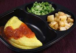 Cheese Omelet & Salsa, with Broccoli & Hash Browns - Individual Meal