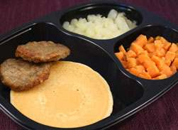 Whole Grain Pancake & Sausage Patties with Sweet Potatoes and Cinnamon Apples - Individual Meal