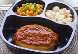 Breaded Parmesan Chicken Patty with Red Skin Potatoes & Mixed Vegetables - Individual Meal