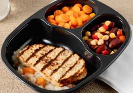 Chicken Patty over Rice & Gravy with Bean Blend & Carrots - Individual Meal