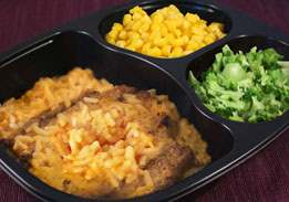 Beef Patty Over Cheesy Chipotle Rice, Corn & Broccoli - Individual Meal