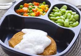 Creamy Breaded Chicken Patty with Lima Beans & Mixed Vegetables - Individual Meal