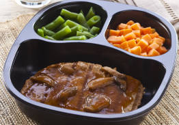 Pork Patty & Mushroom Gravy with Sweet Potatoes & Green Beans - Individual Meal