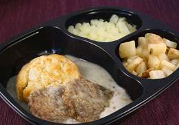 Sausage Patties & Biscuit with Country Gravy, Hashbrowns & Cinnamon Apples - Individual Meal