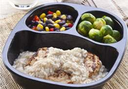 Chicken Patty & Honey Lemon Rice with Black Beans and Corn & Brussels Sprouts - Individual Meal