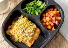 Breaded Fish & Coconut Curry Rice, Cinnamon Apples & Broccoli - Individual Meal