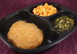 Breaded Veal Patty, Diced Sweet Potatoes with Cinnamon, & Mixed Greens - Individual Meal