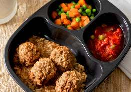 Meatballs with Rice & Gravy, with Stewed Tomatoes & Peas and Carrots - Individual Meal